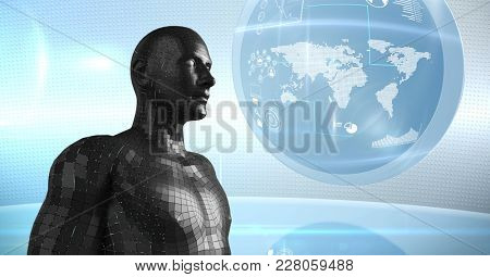 Digital composite of 3D black male AI against globe and flares