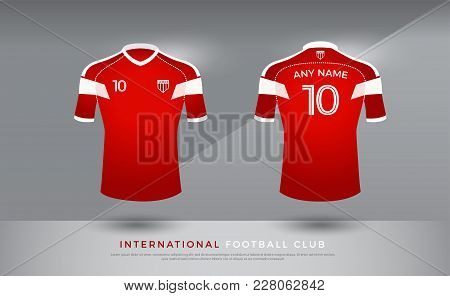 Soccer T-shirt Design Uniform Set Of Soccer Kit. Football Jersey Template For Football Club. Red And