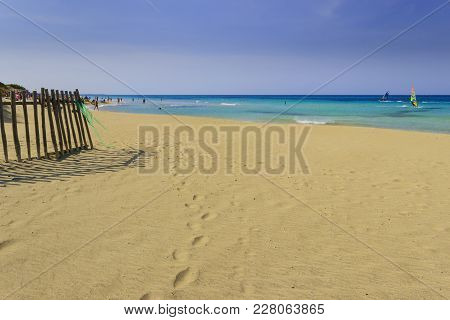Summertime.the Regional Natural Park Dune Costiere (torre Canne): Fence Between Sea Dunes. (apulia)-