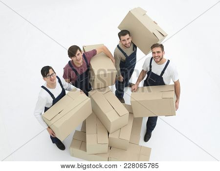 Delivery men with cardboard boxes on white background.