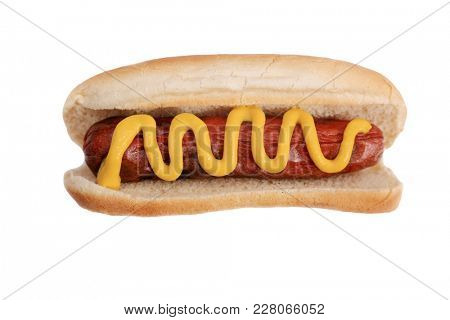Hot Dog with yellow mustard. Isolated on white. Room for text.