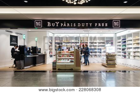 ROISSY, FRANCE - CIRCA JANUARY 2018: Buy Paris Duty Free shop at Roissy Charles de Gaulle aiport, Terminal 1.