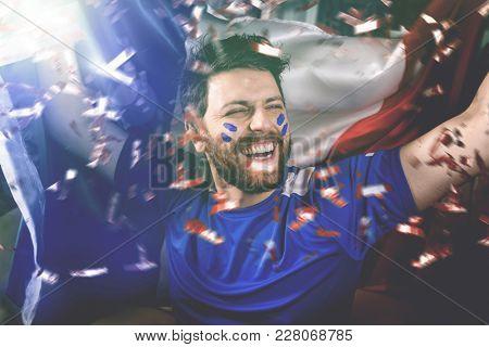 French fan celebrating