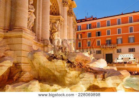 ROME,ITALY - JULY 19,2017 : The Fontana di Trevi in Rome illuminated at night