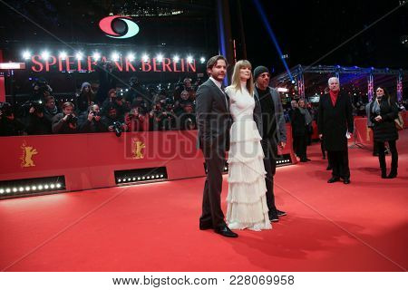 Daniel Bruehl, Rosamund Pike. Jose Padilha attend the '7 Days in Entebbe' premiere during the 68th Film Festival Berlin at Berlinale Palast on February 19, 2018 in Berlin, Germany.