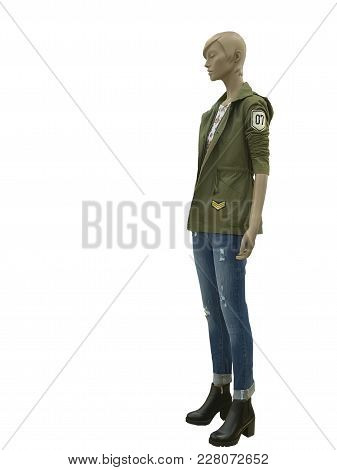 Full-length Female Mannequin Wearing Military Jacket, Isolated On White Background. No Brand Names O