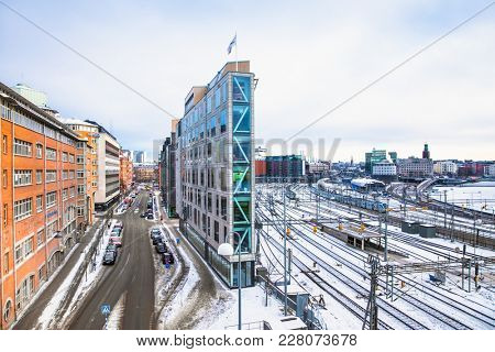 STOCKHOLM SWEDEN - JAN 18, 2016: Architecture in the centre of Stockholm on Jan 18, 2016, Sweden.  Stockholm is the capital of Sweden