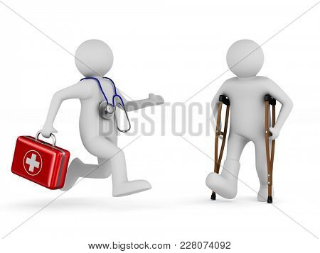 man on crutches and doctor. Isolated 3D illustration