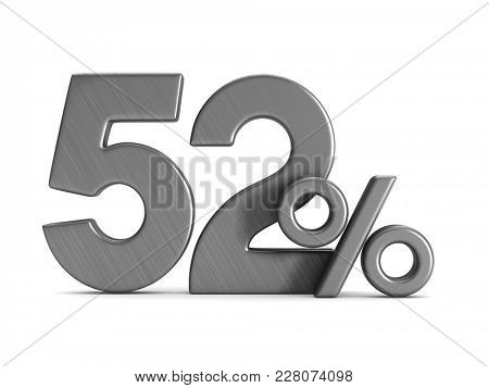 fifty two percent on white background. Isolated 3D illustration