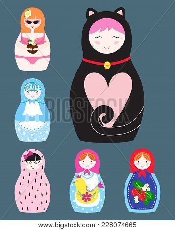 Matryoshka Vector Traditional Russian Nesting Doll Toy With Handmade Ornament Figure Pattern With Ch