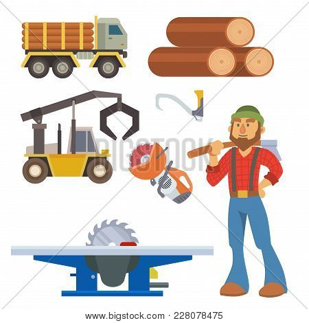 Sawmill woodcutter character logging equipment lumber machine industrial wood timber forest vector illustration. Lumberjack sawmill work machinery forestry transportation poster