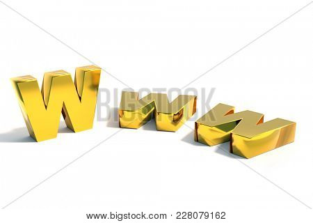 3D rendering of three golden WWW Internet acronym over white background