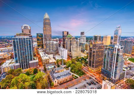 Charlotte, North Carolina, USA uptown cityscape at dusk.
