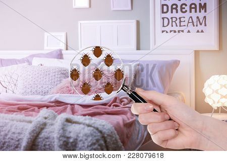 Woman with magnifying glass detecting bed bugs in bedroom