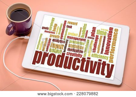 productivity word cloud on a digital tablet with cup of coffee