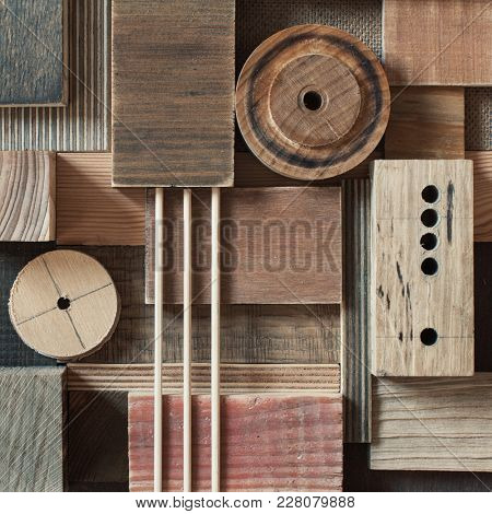 Abstract scrap wood blocks. Wood background.