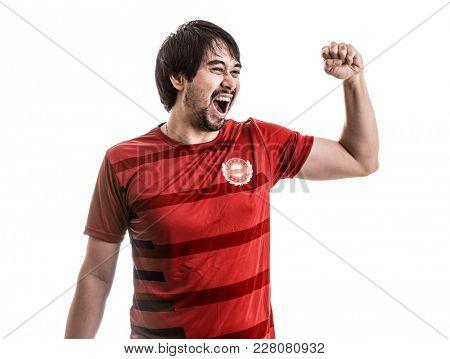 Athlete / Fan wearing red uniform celebrates on white background