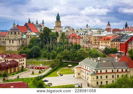 Architecture of the old town in Lublin, Poland