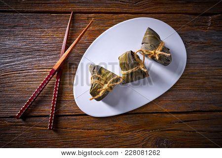 Zongzi Glutinous sticky Rice Dumplings recipe wrap with bamboo leaves asian food
