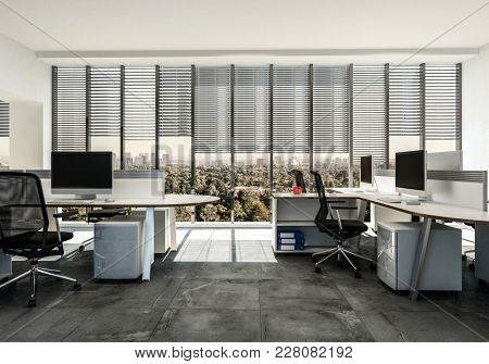 Modern business office with multiple workstations around table style desks with cabinets, tiled grey floor and large windows with blinds. 3d Rendering.