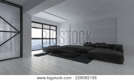 Spacious modern luxury open plan white monochromatic loft living room interior with large black comfortable sofas and rug in front of a bright view window. 3d rendering