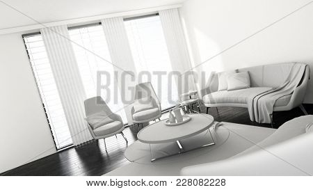 Furnished spacious living room with large windows in bright flat. 3d Rendering.