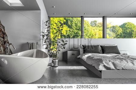 Modern luxury bedsitter or hotel bedroom with a freestanding boat-shaped bathtub and double divan bed below large windows overlooking green trees. 3d rendering