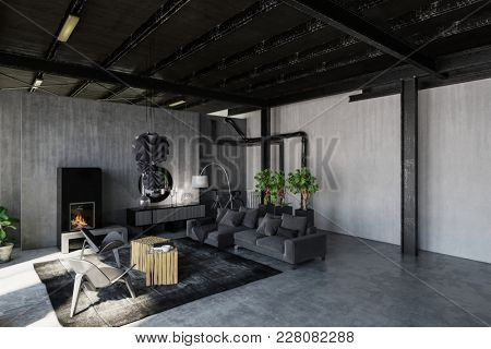 Trendy monochrome grey loft living room in an industrial conversion with grunge concrete walls and exposed structural elements. 3d rendering