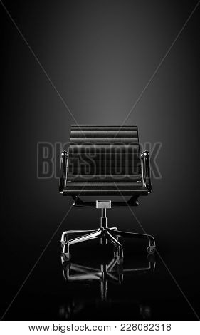 Modern elegant black office chair on wheels in a dark sombre monochrome grey room with reflective floor. 3d rendering