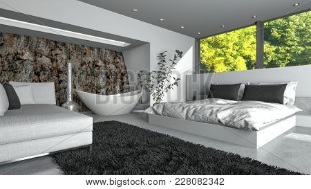 Modern luxury bedsitter with fresh white decor and a double divan bed, sofa and freestanding oval boat-shaped bathtub with a view of green trees through a large window. 3d rendering
