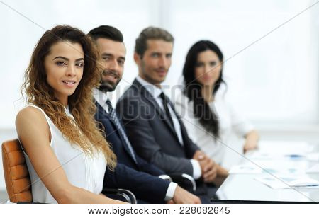 closeup.business team sitting in the conference room