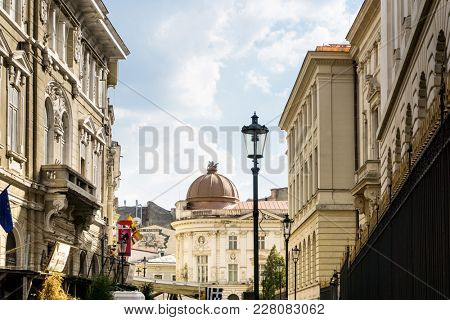 BUCHAREST, ROMANIA - August 28, 2017: antique building view in Old Town Bucharest, Romanian