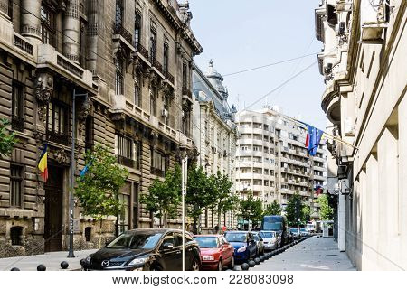 BUCHAREST, ROMANIA - August 28, 2017: street view of downtown in Bucharest, Romanian