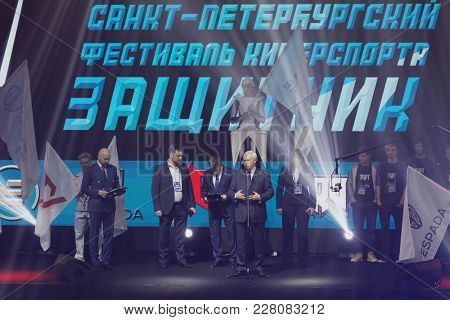 ST. PETERSBURG, RUSSIA - FEBRUARY 22, 2018: Governor of St. Petersburg Georgy Poltavchenko on the opening ceremony of St. Petersburg Cyber-Sport Festival