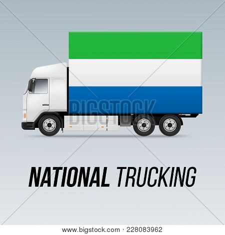 Symbol Of National Delivery Truck With Flag Of Sierra Leone. National Trucking Icon And Flag Colors