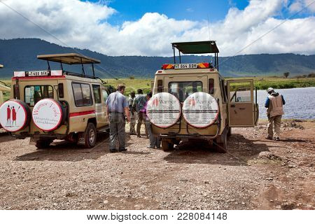 TANZANIA, AFRICA - JANUARY 27, 2017:  Ngorongoro Crater is a popular destination for safari vacations in Tanzania, Africa.