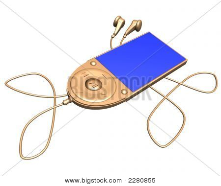 3D Gold Mp3 Player On A White Background