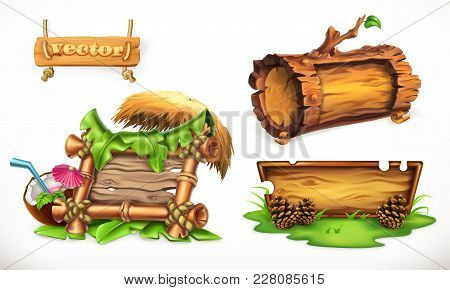 Holidays In The Summertime, A Wooden Sign Can Be Used For A Summer Camp, For Beach Party. 3d Vector