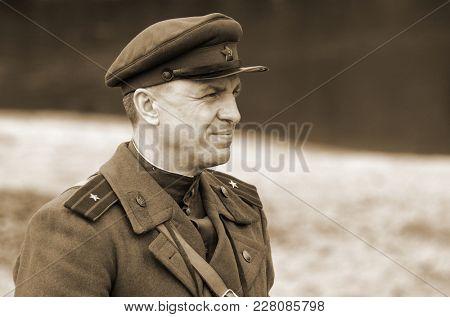 Liberation of Kiev from nazis reenactment.An unidentified person wears historical Soviet uniform . At November 7,2013 in Kiev, Ukraine