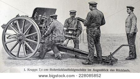 ILLUSTRATIVE EDITORIAL.Vintage illustration - ARTILLERY. Meyers Kleines Lexikon. Edition 1908.  February 22 2018 in Kiev,Ukraine
