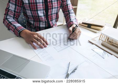 Architecture Engineer Drawing And Working For Architectural Project And Engineering Tools On Workpla
