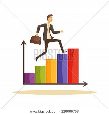 Time Management Poster, Businessman Running On Top Of Graphic With Arrows, Worker And Briefcase, Vec