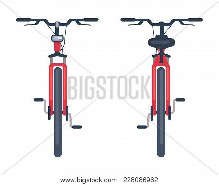 Bike With Pedals And Rudder Front View, Bicycle Lumens Headlamp Vector Illustration Isolated On Whit