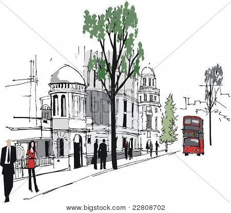 Vector illustration of Whitehall, London