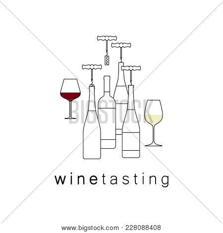Icon, Logo For Wine List, Tasting, Restaurant Menu. Glass Of Wine. Modern Line Style. Vector Illustr