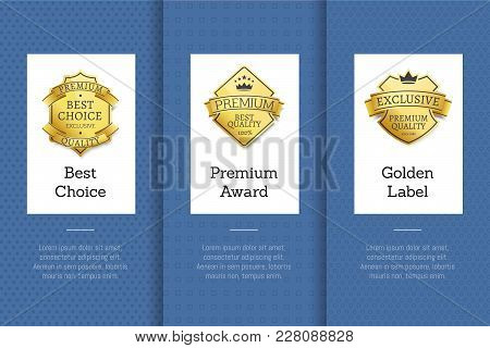 Best Choice Premium Award Golden Label Good Exclusive Product Vector Illustration Posters Set With C