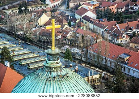 View From Basilica In Esztergom, Hungary. Holy Cross. Cultural Heritage. Travel Destination.