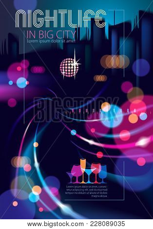 Abstract Urban Night Light Bokeh Defocused Background. Effect Vector Beautiful Background. Blur Colo