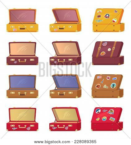 Open Suitcases Back Front View With Memory Cards Symbols Of Different Countries, Transportation Case