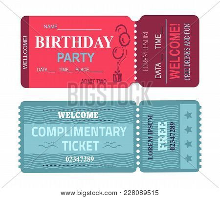 Birthday Party Welcome, Card With Date And Place, Free Drinks And Fun, Complimentary Ticket, Collect